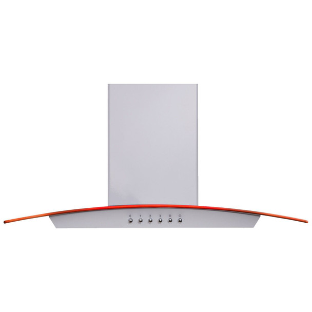 SIA CPLE60WH 60cm White LED Edge Curved Glass Cooker Hood and Carbon Filter