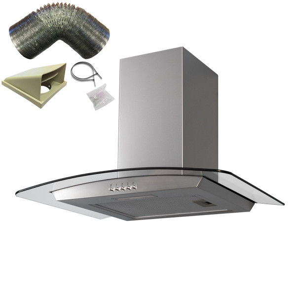 SIA 60cm Stainless Steel Curved Glass Cooker Hood Extractor Fan And 3m Ducting