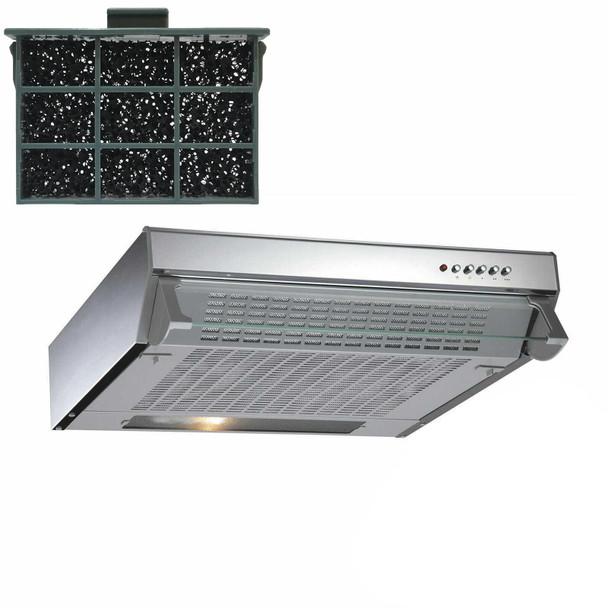 CDA CST61SS 60cm Stainless Steel Visor Cooker Hood Extractor Fan &Carbon Filter