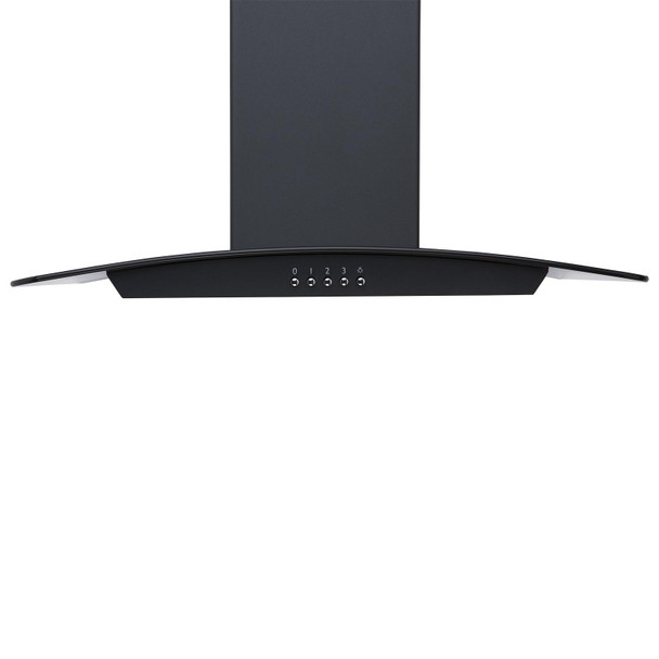 SIA 60cm Black 4 Burner Gas On Glass Hob And Smoked Curved Glass Cooker Hood Fan