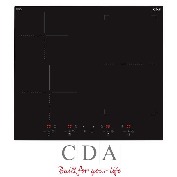 CDA HN6732FR 60cm Black 4 Zone Flexi-Bridge Touch Control Electric Induction Hob