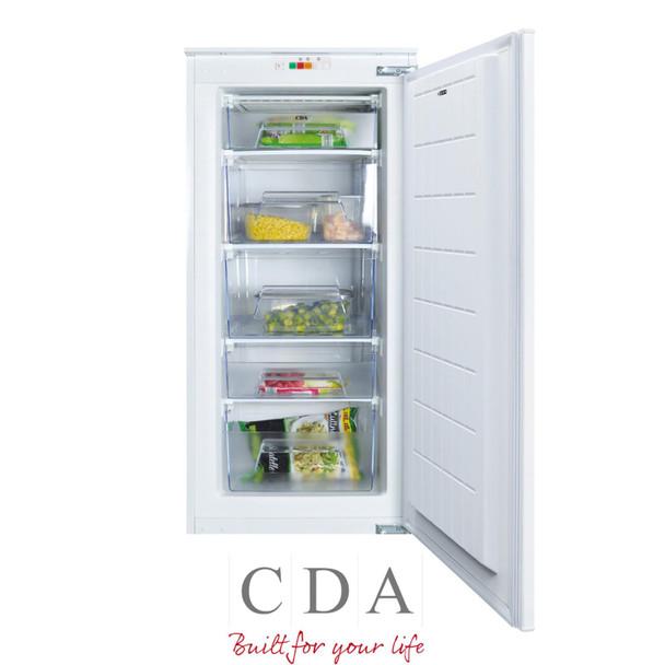 CDA FW582 54cm 135L White Upright 3/4 High Integrated In-column 5 Drawer Freezer