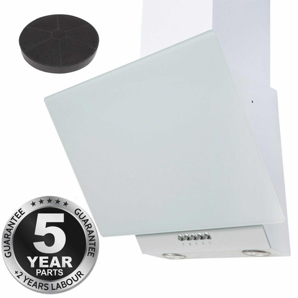 SIA EAG61WH 60cm White Angled Chimney Cooker Hood Extractor Fan &Carbon Filter