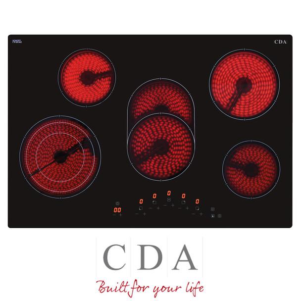 CDA HC7621FR 77cm Black 5 Zone Frameless Touch Control Electric Ceramic Hob