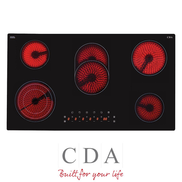 CDA HC9621FR 90cm Black 5 Zone Frameless Touch Control Electric Ceramic Hob