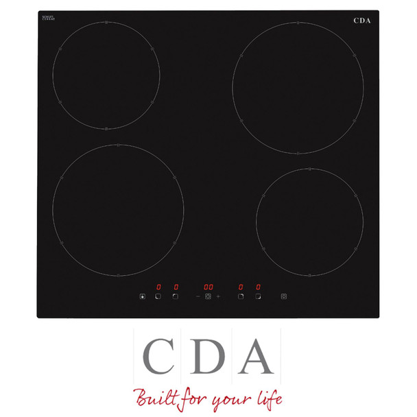 CDA HN6111FR 60cm Black 4 Zone Touch Control Electric Induction Hob With Boost