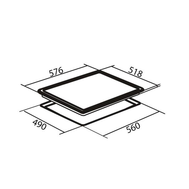 AMICA ACH6420FR 60CM Frameless Four Zone Black Glass Front Control Ceramic Hob