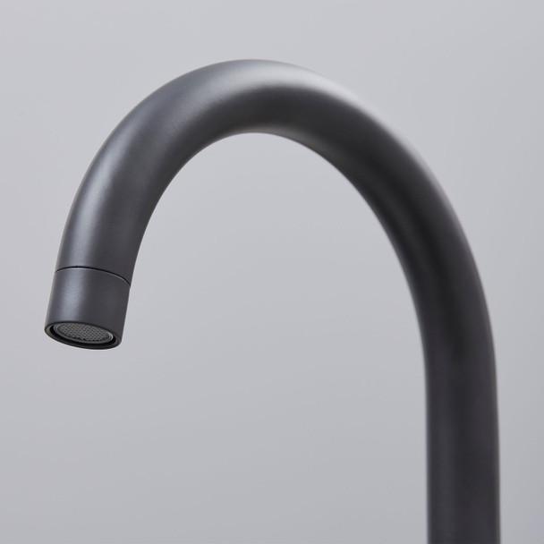 SIA KT3BL Black Swan Neck Twin Lever Contemporary Monobloc Kitchen Mixer Tap