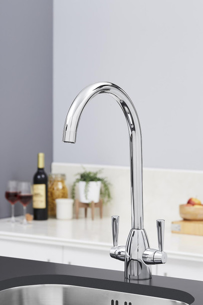 SIA KT5CH Chrome Swan Neck Twin Lever Contemporary Monobloc Kitchen Mixer Tap