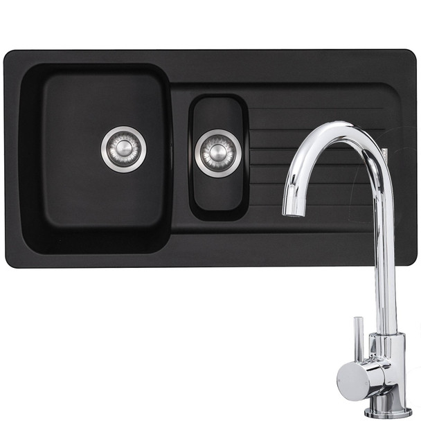 Franke Aveta 1.5 Bowl Black Tectonite Kitchen Sink & Modern Chrome Mixer Tap