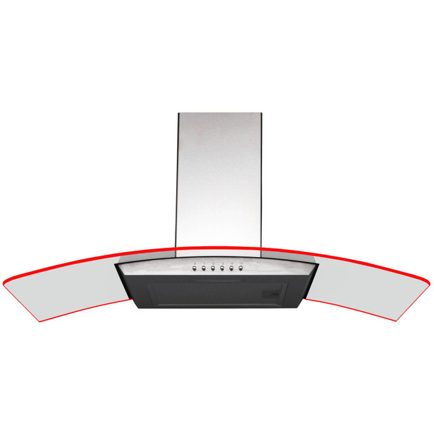 SIA 90cm Stainless Steel 3 Colour LED Edge Lit Curved Glass Cooker Hood Fan