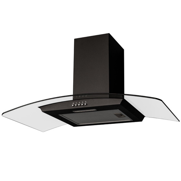 SIA CGH90BL 90cm Black Curved Glass Chimney Cooker Hood Extractor Fan