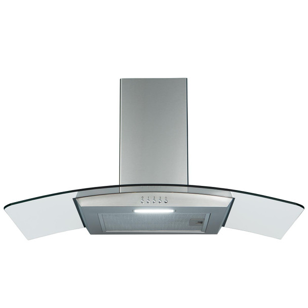 SIA CGH90SS 90cm Curved Glass Stainless Steel Chimney Cooker Hood and 1m Ducting