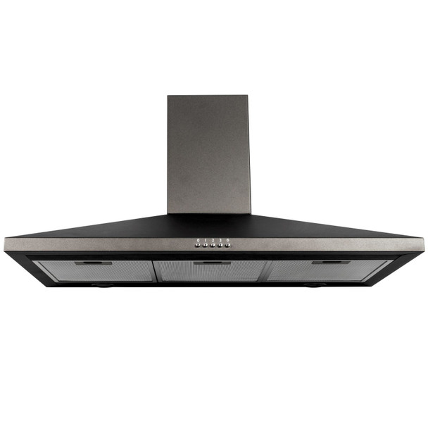 SIA CHL90BL 90cm Black Chimney Cooker Hood Kitchen Extractor Fan And 1m Ducting