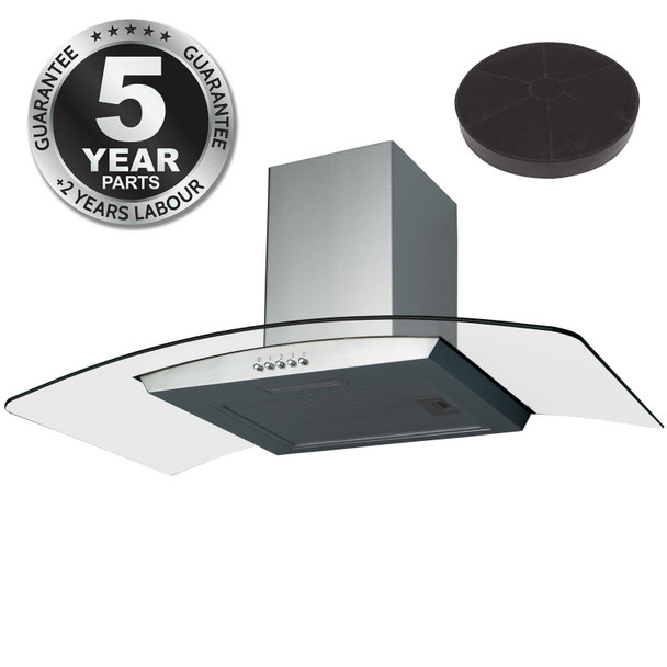 SIA CGH80SS 80cm Stainless Steel Curved Glass Cooker Hood And Carbon Filter