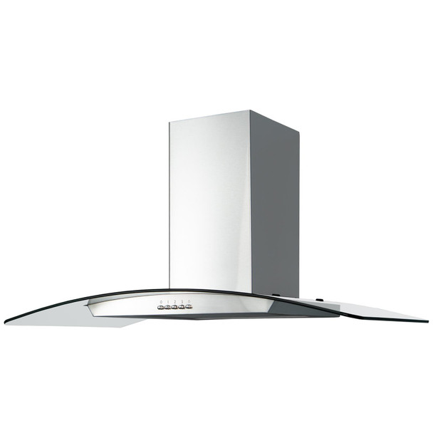 SIA CGH80SS 80cm Stainless Steel Curved Glass Cooker Hood Extractor Fan