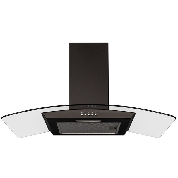 SIA CGH80BL 80cm Curved Glass Chimney Cooker Hood Extractor Fan In Black