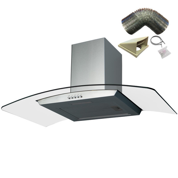 SIA CGH80SS 80cm Stainless Steel Curved Glass Cooker Hood Extractor + 3m Ducting
