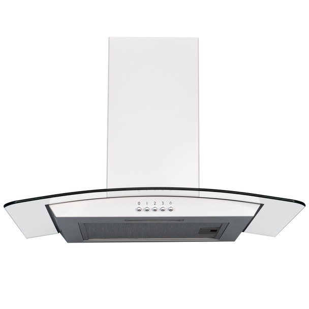 SIA CGH60WH 60cm White Curved Glass Chimney Cooker Hood Kitchen Extractor Fan