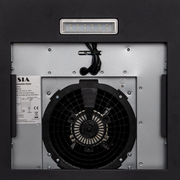 SIA CGH60BL 60cm Curved Glass Black Cooker Hood Extractor Fan and Carbon Filter