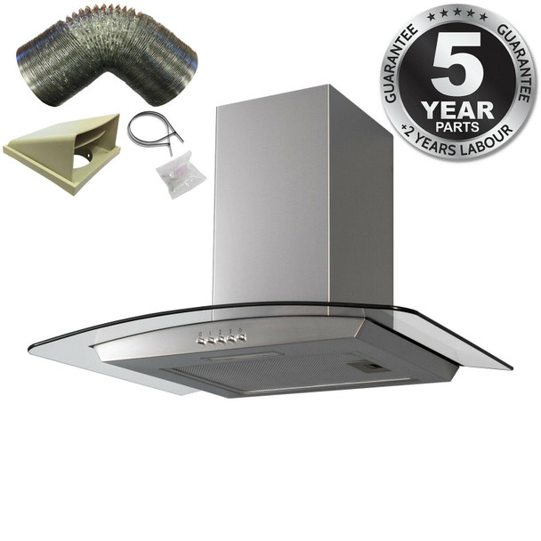 SIA CGH70SS 70cm Curved Glass/Stainless Steel Chimney Cooker Hood And 3m Ducting