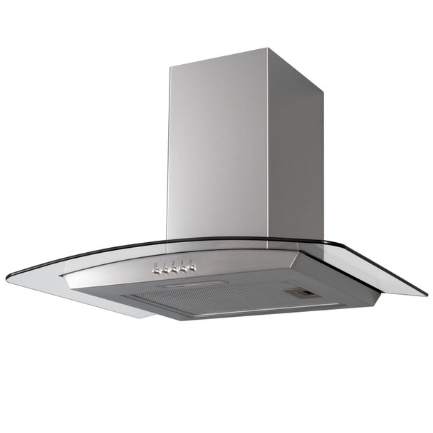SIA CGH70SS 70cm Curved Glass / Stainless Steel Kitchen Chimney Cooker Hood Fan