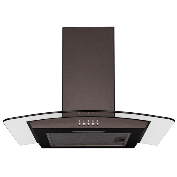 SIA CGH70BL 70cm Curved Glass Black LED Chimney Cooker Hood Extractor Fan