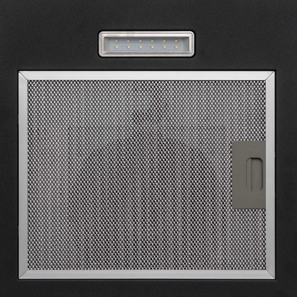 SIA CGH70BL 70cm Curved Glass Black LED Cooker Hood Extractor And 1m Ducting Kit