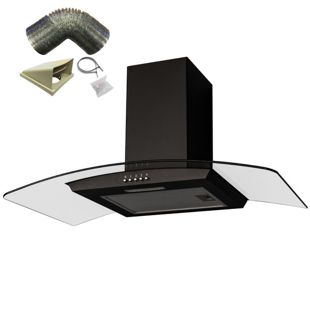 SIA CGH80BL 80cm Curved Glass Black Cooker Hood Extractor Fan And 1m Ducting Kit