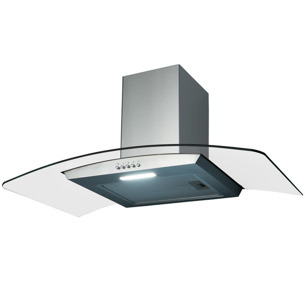 SIA CGH90SS 90cm Curved Glass Stainless Steel Chimney Cooker Hood and 3m Ducting