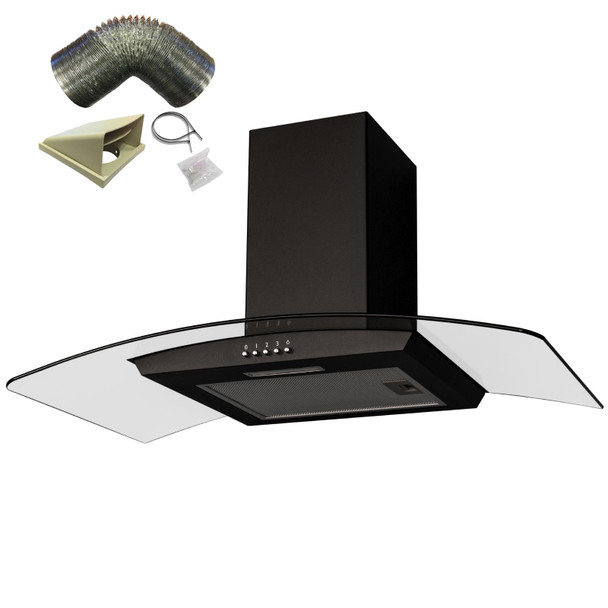 SIA CGH90BL Black 90cm Curved Glass Chimney Cooker Hood Extractor and 1m Ducting