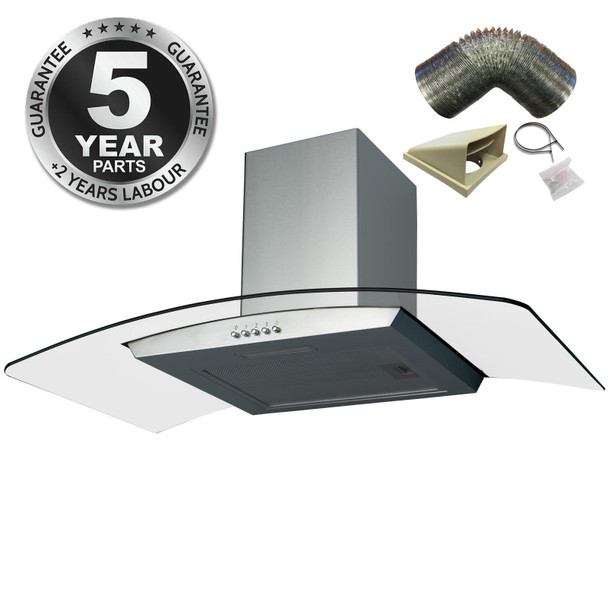 SIA CGH100SS 100cm Stainless Steel Curved Glass Cooker Hood and 1m Ducting Kit