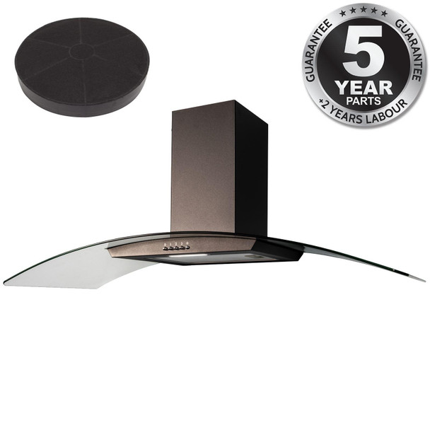 SIA CGH100BL 100cm Black Curved Glass Chimney Cooker Hood and Carbon Filter