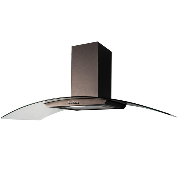 SIA CGH100BL 100cm Black Curved Glass Chimney Cooker Hood Kitchen Extractor Fan