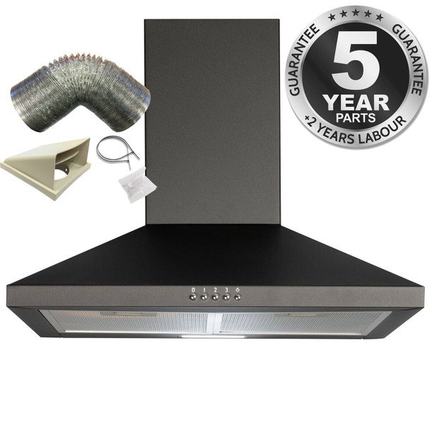 SIA CHL60BL 60cm Chimney Cooker Hood Extractor Fan In Black  And 1m Ducting Kit
