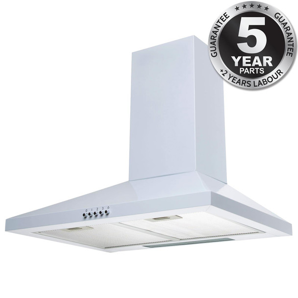 SIA CHL60WH 60cm White Pyramid 3 Speed Chimney Cooker Hood Kitchen Extractor Fan