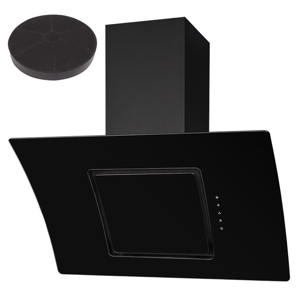 SIA 90cm Black Touch Control Angled Curved Glass Cooker Hood And Charcoal Filter