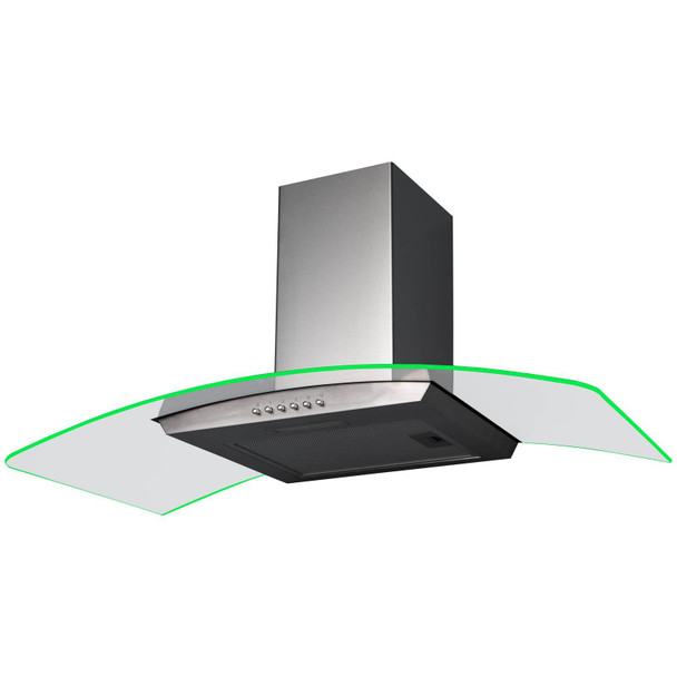SIA 90cm Stainless Steel 3 Colour LED Edge Curved Cooker Hood And Carbon Filter