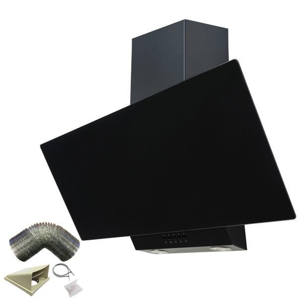 SIA EAG91BL Black 90cm Angled Glass Chimney Cooker Hood Kitchen &3m Ducting Kit