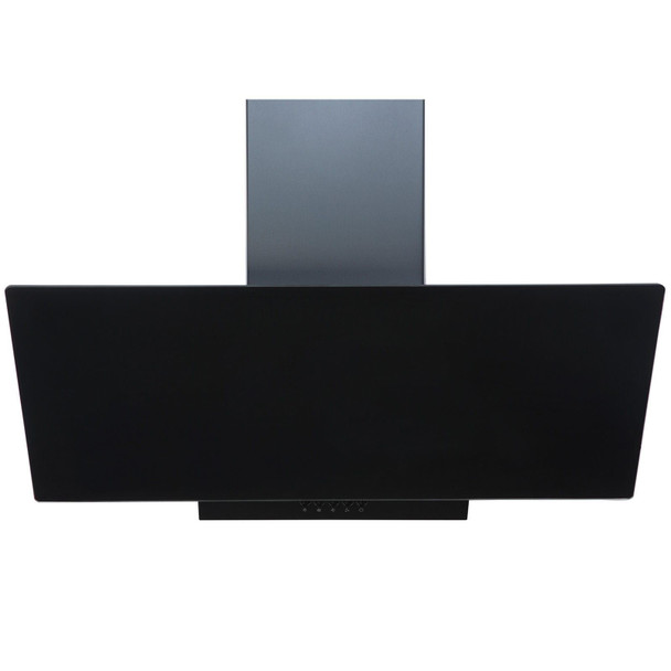 SIA EAG91BL Black 90cm Angled Glass Chimney Cooker Hood Kitchen &1m Ducting Kit