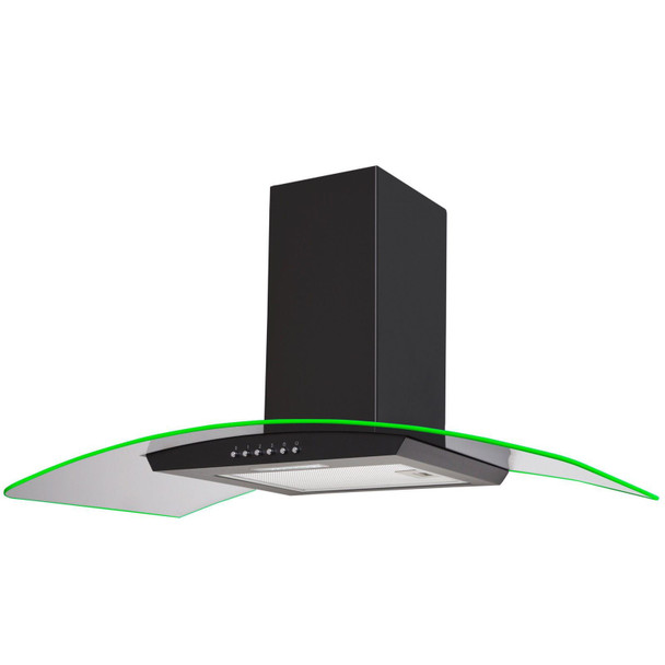 SIA 90cm Black 3 Colour LED Edge Lit Curved Glass Cooker Hood And Carbon Filter