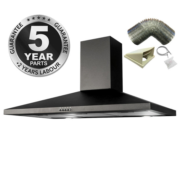 SIA CHL90BL 90cm Black Chimney Cooker Hood Kitchen Extractor Fan And 3m Ducting