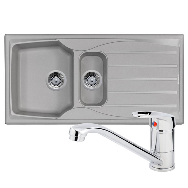 Astracast Sierra 1.5 Bowl Light Grey Composite Kitchen Sink And Chrome Mixer Tap