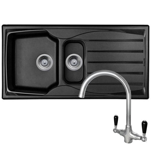 Astracast Sierra 1.5 Bowl Black Kitchen Sink & Reginox Brooklyn Chrome Mixer Tap