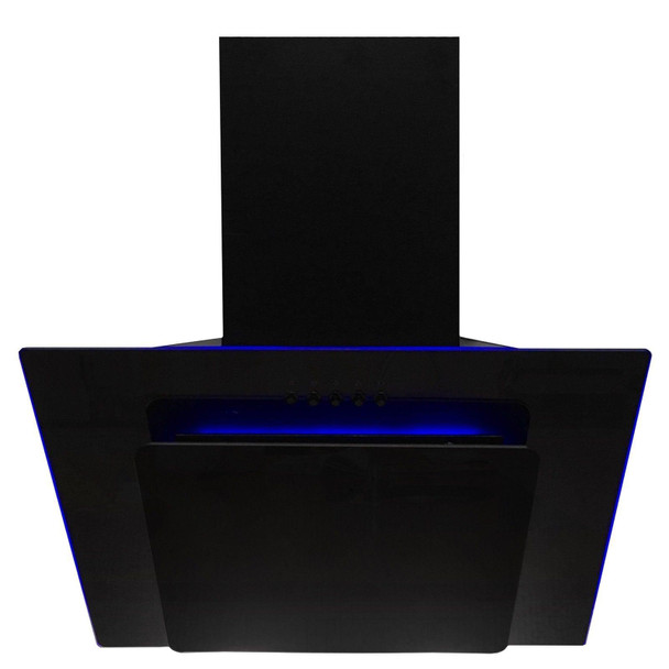 SIA 60cm Black Angled 3 Colour LED Edge Lit Cooker Hood Extractor Fan And Filter