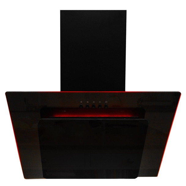 SIA 70cm Black 3 Colour LED Edge Lit Angled Cooker Hood Extractor Fan And Filter