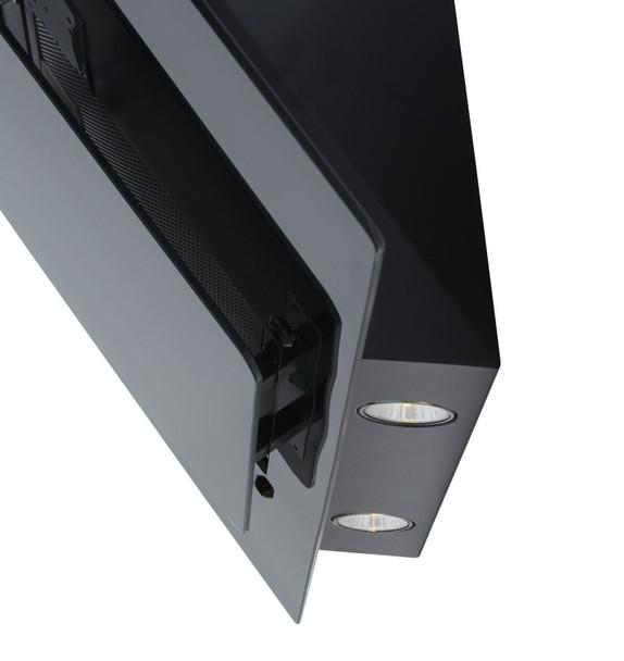 SIA 70cm Black 3 Colour LED Edge Lit Angled Glass Cooker Hood And 3m Ducting Kit