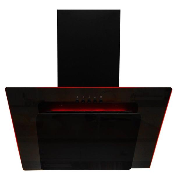 SIA 70cm Black 3 Colour LED Edge Lit Angled Glass Cooker Hood And 1m Ducting Kit