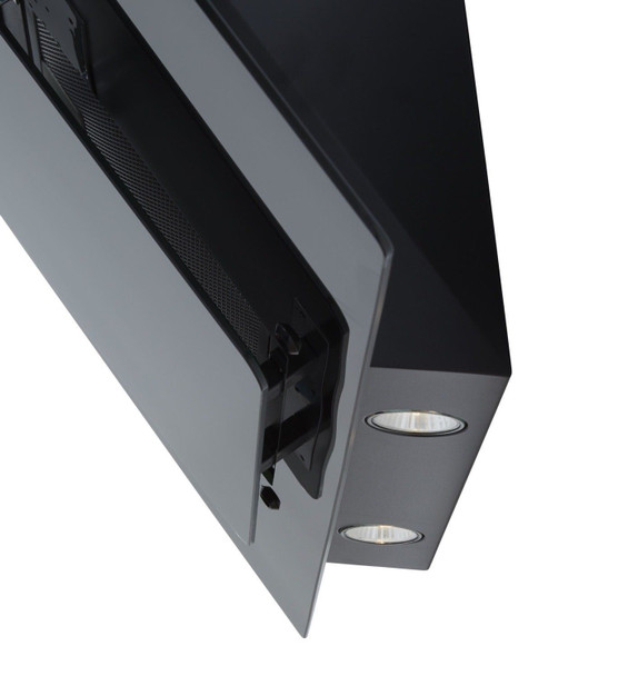 SIA AGE91BL 90cm Black 3 Colour LED Edge Lit Angled Glass Cooker Hood Extractor