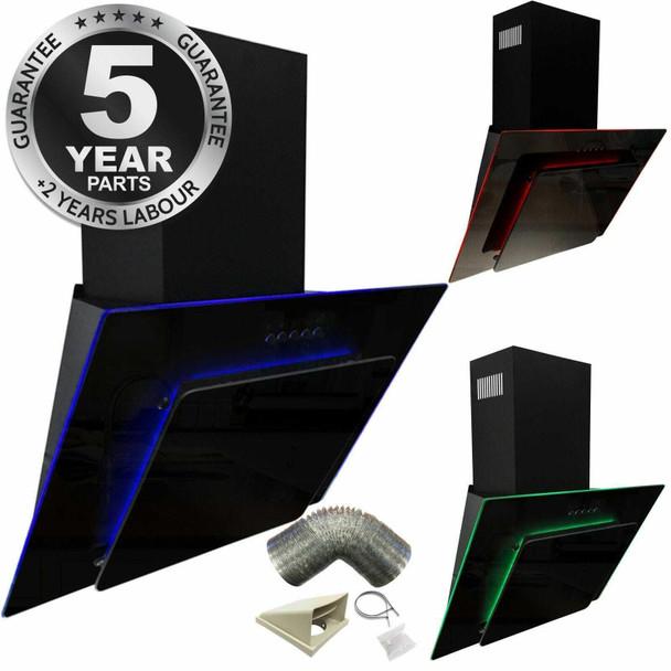 SIA 90cm Black 3 Colour LED Edge Lit Angled Glass Cooker Hood And 3m Ducting Kit
